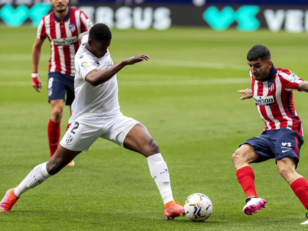 Un momento del Atlético de Madrid-Huesca.