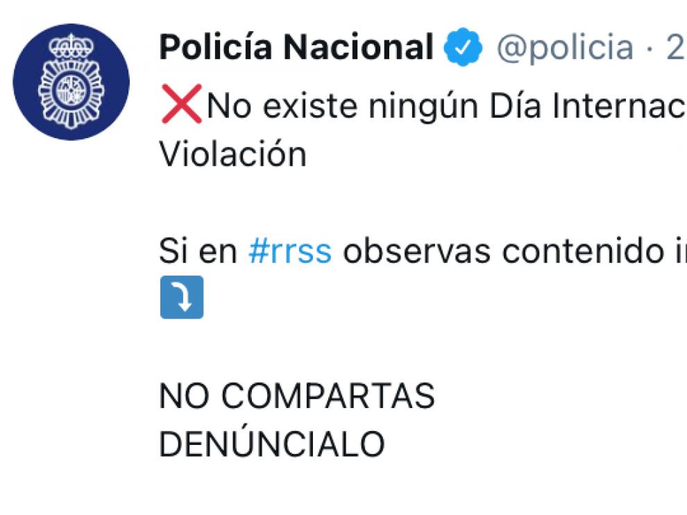 """""""Tuit"""" enviado por la Policía advirtiendo de estos hechos"""