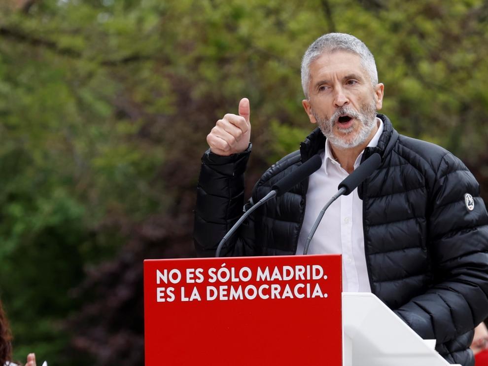 Grande-Marlaska en el mitin del PSOE en Madrid