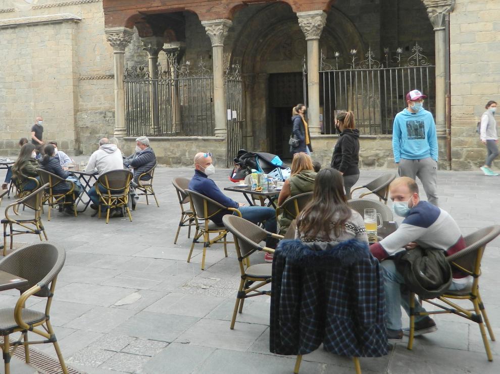 Turistas en Jaca el sábado