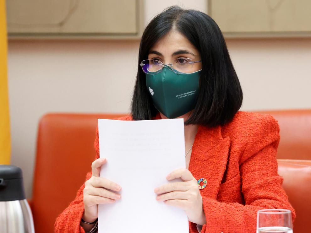 La ministra de Sanidad, Carolina Darias este jueves en la Cámara Baja para abordar las medidas adoptadas frente al COVID-19.