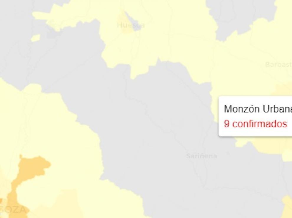 Mapa de nuevos contagios de covid publicado este jueves