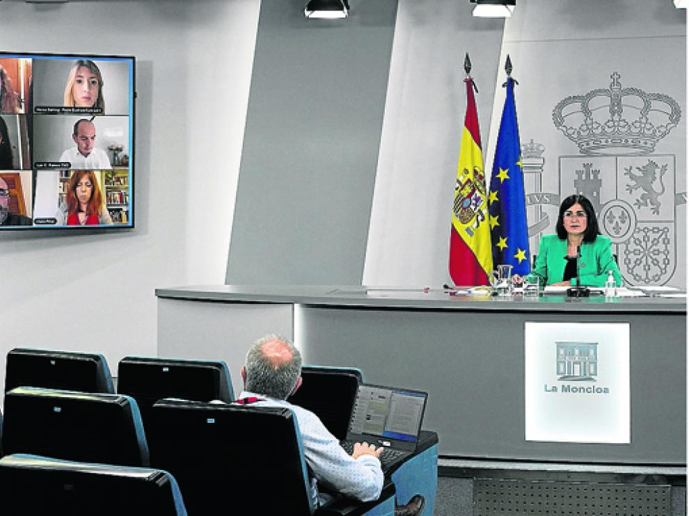 La ministra de Sanidad durante la rueda de prensa de este miércoles