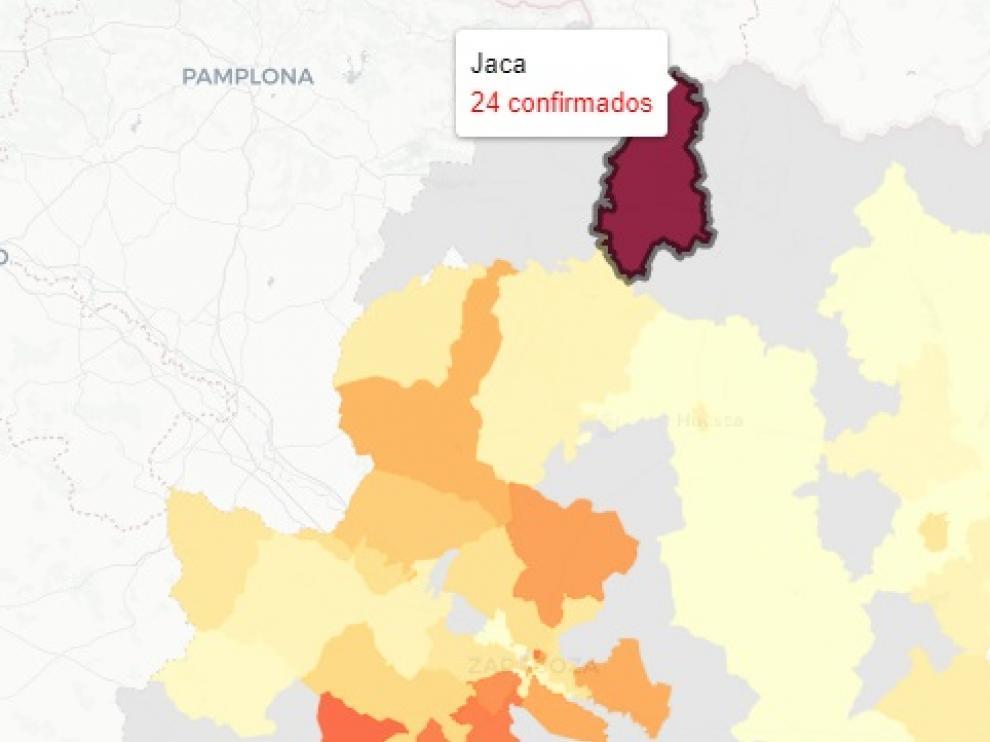 Mapa publicado este viernes con las zonas aragonesas afectadas por nuevos contagios de covid-19