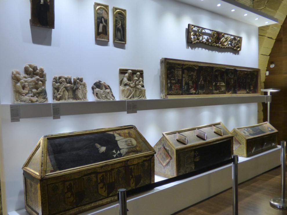 Piezas expuestas en el Monasterio de Sijena.