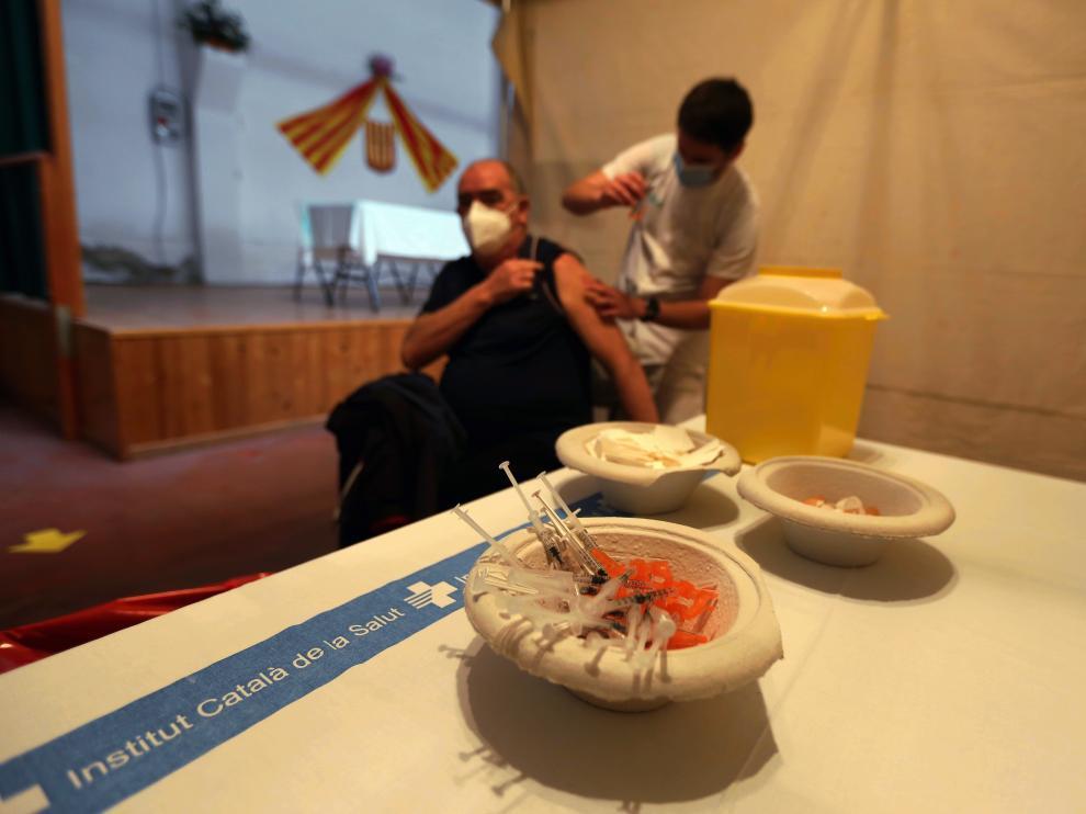 Imagen durante la vacunación con Janssen en Huesca