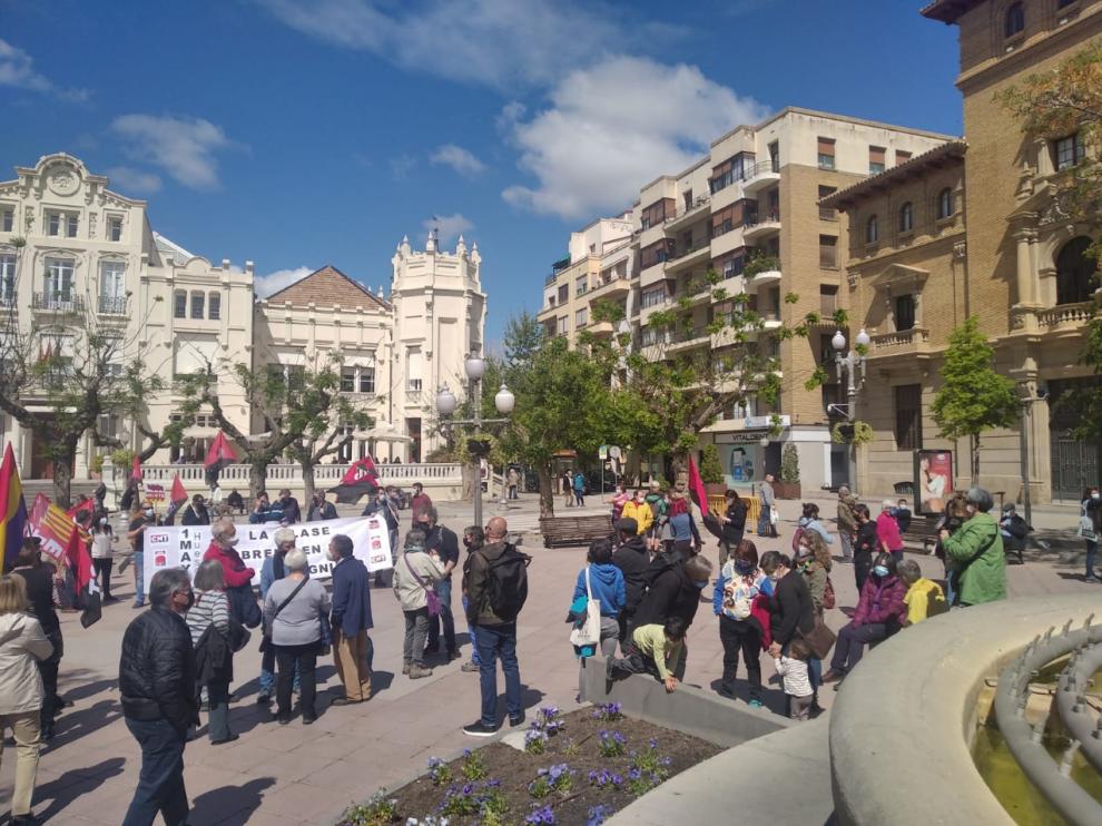 Concentración que ha tenido lugar en la plaza de Navarra de Huesca.