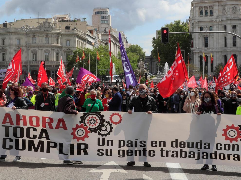 Cabecera de la manifestación del Primero de Mayo celebrada el sábado en Madrid.