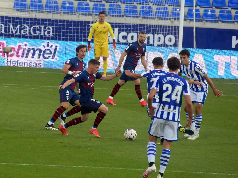 Imagen del partido que jugó el Huesca ante la Real Sociedad el pasado sábado.