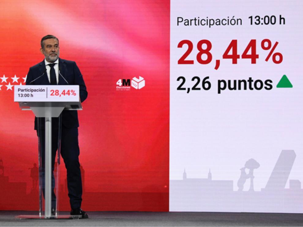 El Consejero de Justicia, Interior y Víctimas Enrique López ofrece los datos de participación