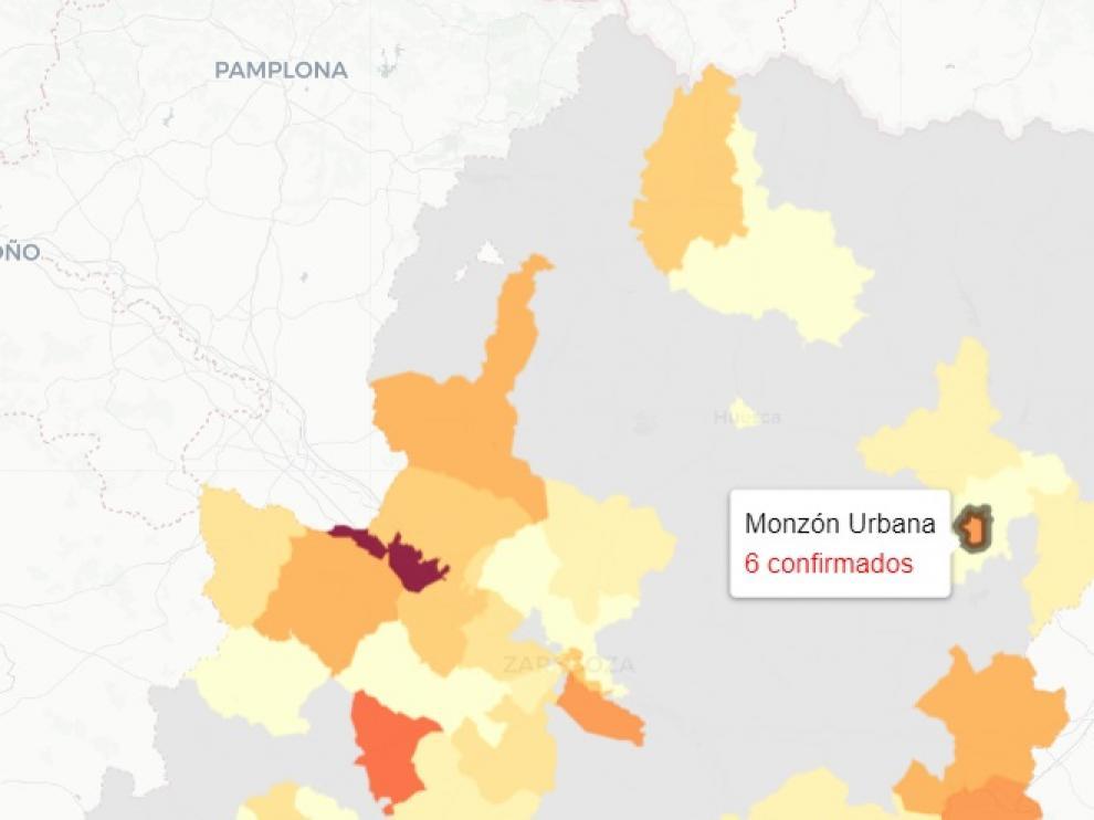 Mapa con los nuevos casos covid en Aragón, publicado este martes