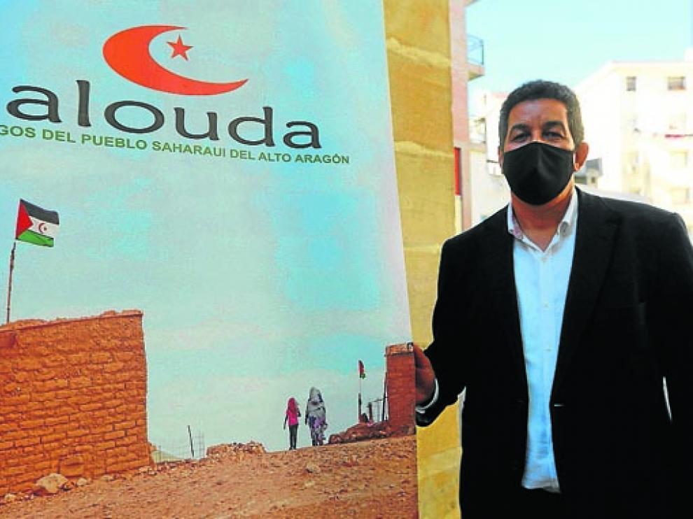 Abdulah Arabi, delegado del Frente Polisario, durante su visita a Huesca ayer.