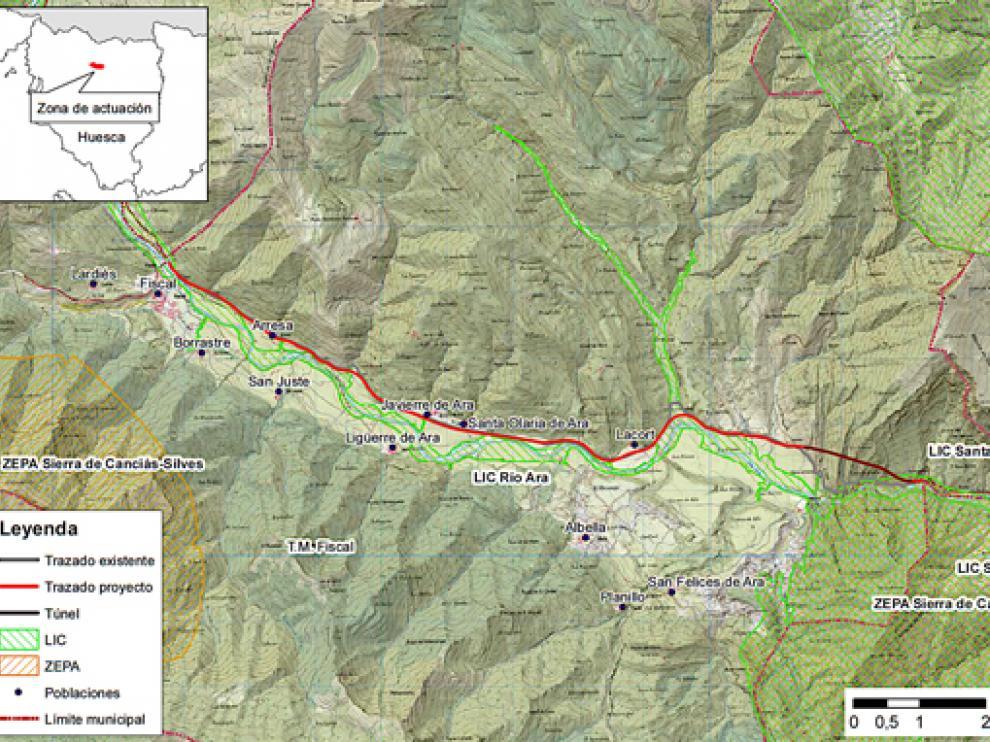 imagen del mapa del proyecto de acondicionamiento N-260 en Sobrarbe según la declaración de impacto - BOE 16-04-21