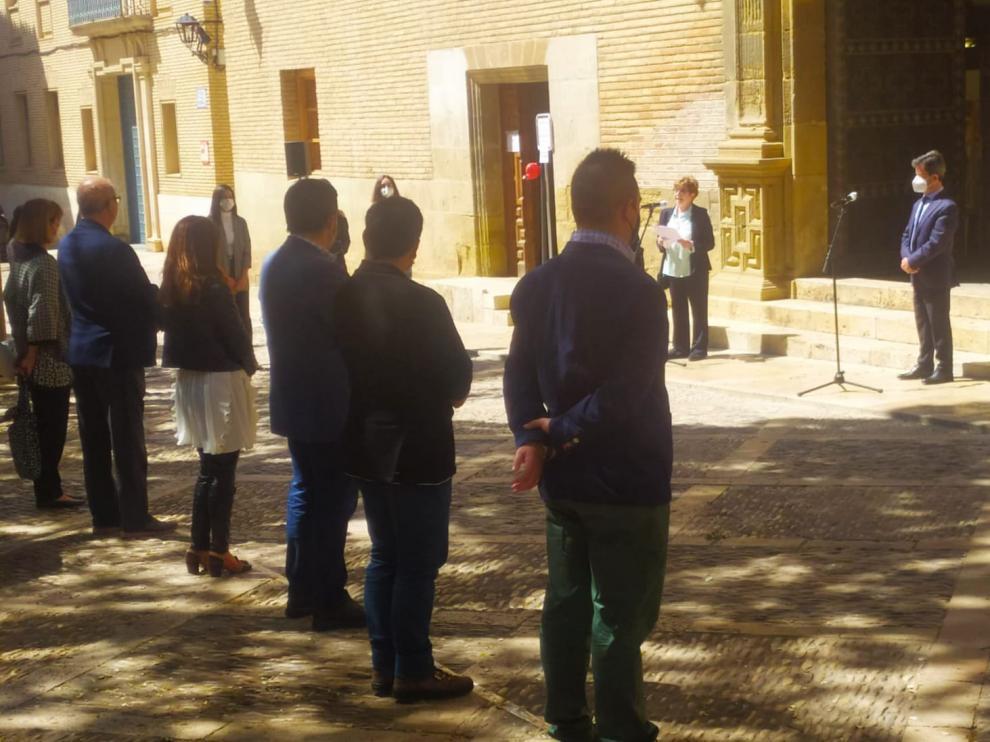 Acto del Día de Europa en la plaza del ayuntamiento de Huesca
