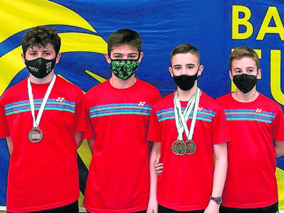 Los cuatro jugadores oscenses, durante la pasada competición en Benalmádena.