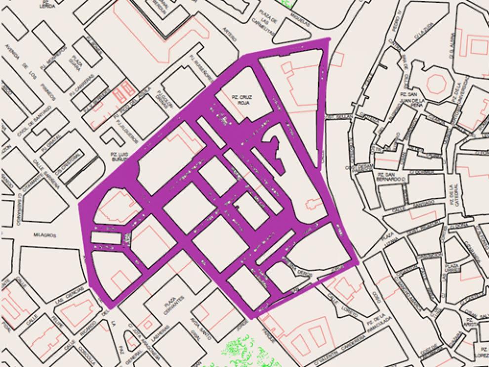 Plano con las zonas afectadas por el corte de agua este martes