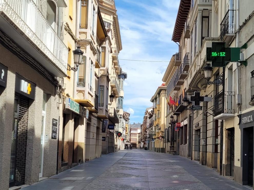 La calle Mayor de Jaca la tarde de este sábado.