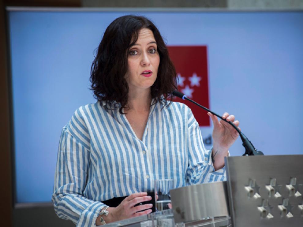 Isabel Díaz Ayuso durante la rueda de prensa posterior al Consejo de Gobierno.