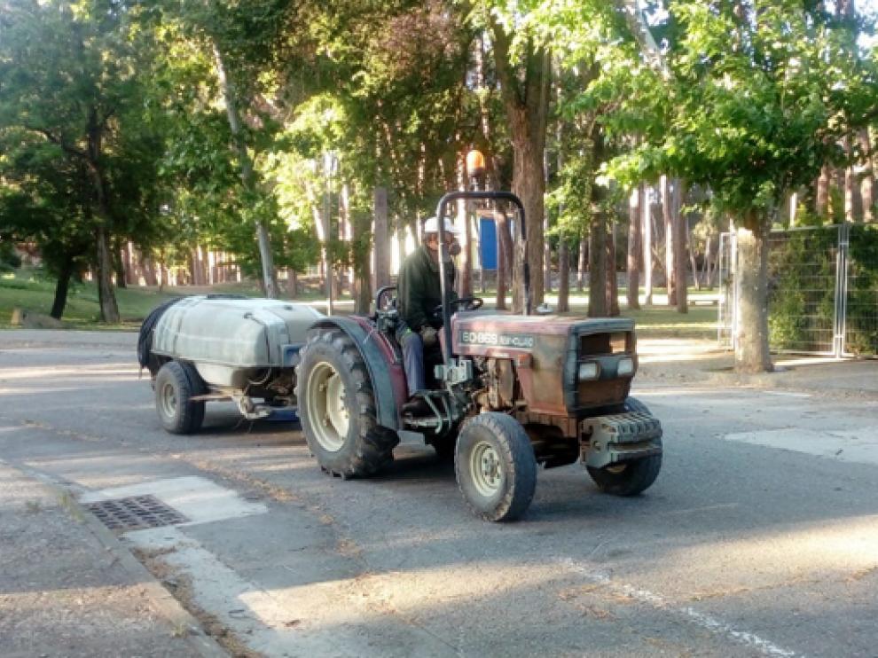 Operarios del Ayuntamiento de Fraga realizando las labores de tratamiento anitmosquitos