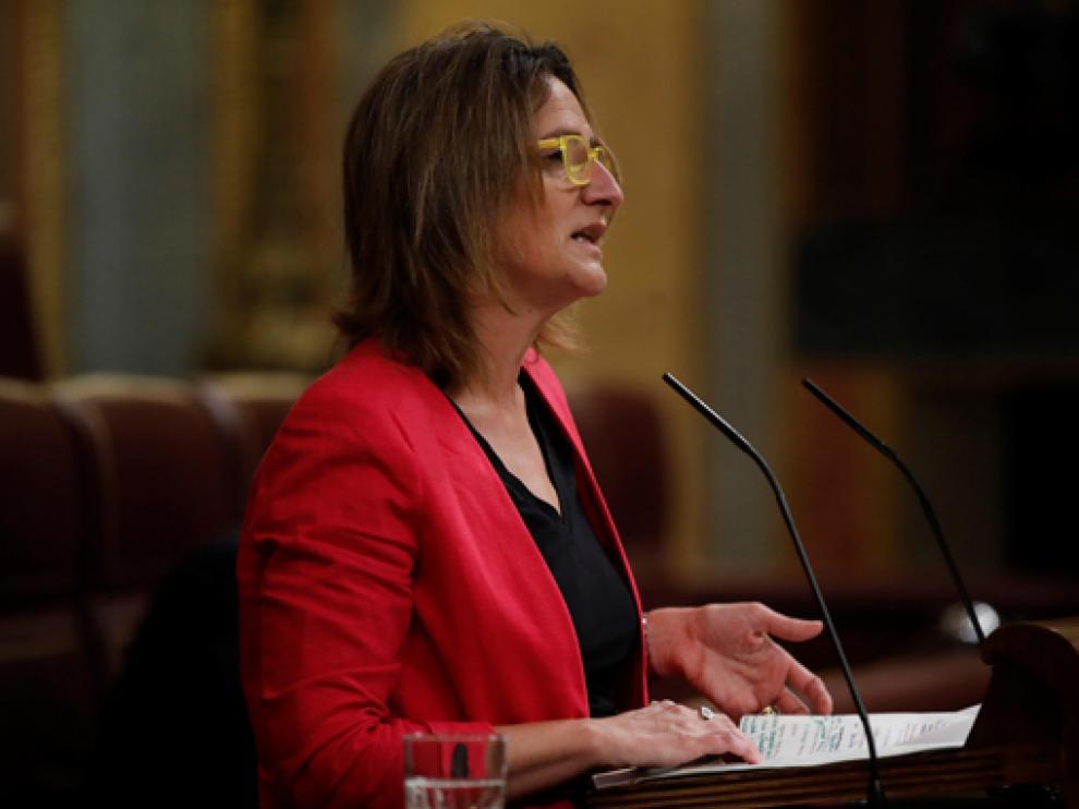 La ministra Teresa Ribera durante su intervención en el Congreso de los Diputados este jueves
