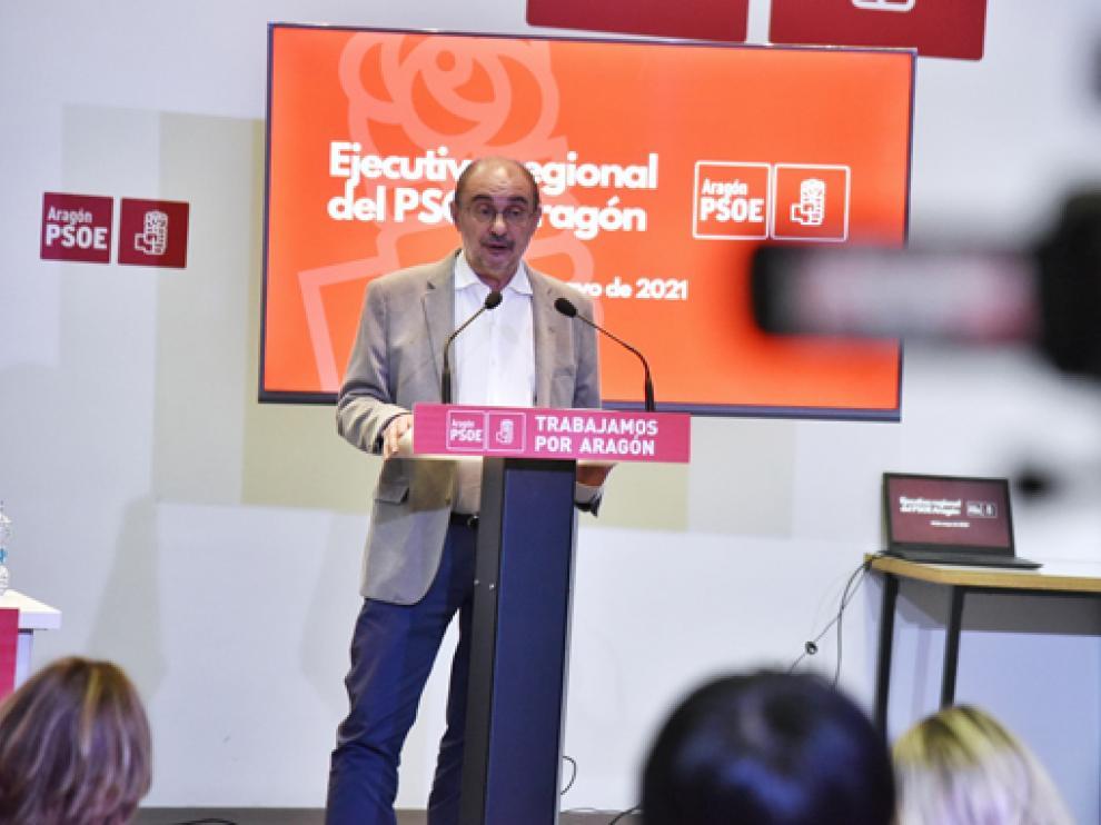 El presidente de Aragón y secretario general de los socialistas aragoneses, Javier Lambán, ayer en la ejecutiva regional del PSOE.