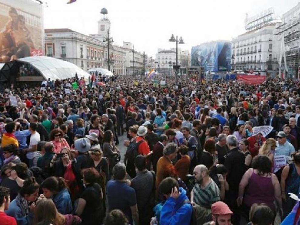 Concentración del 15M hace diez años en Madrid