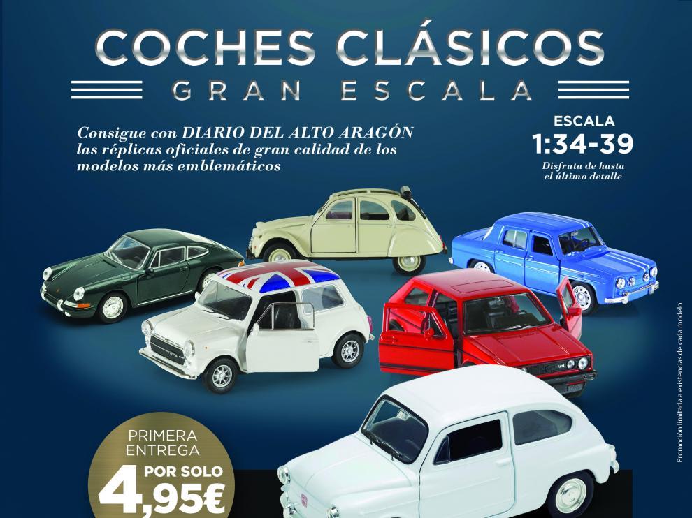 Cartel promocional de la venta de coches a escala.