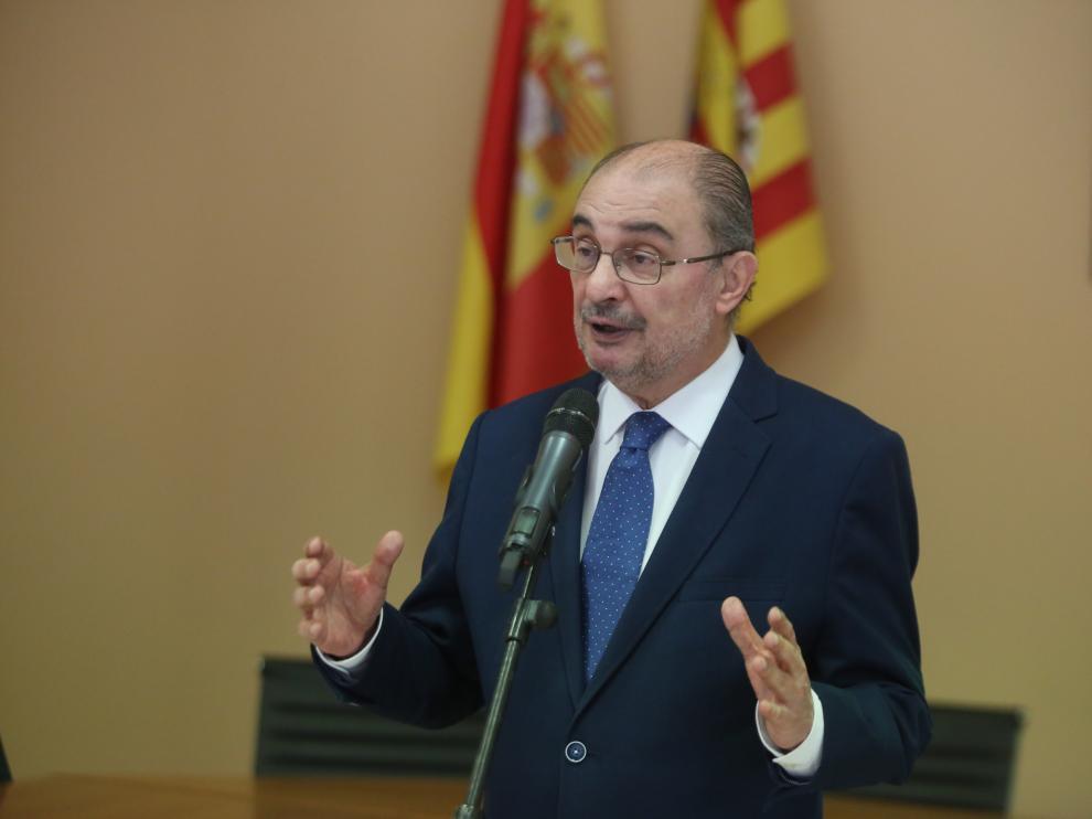 El presidente de Aragón, Javier Lambán, este martes en Tamarite de Litera.