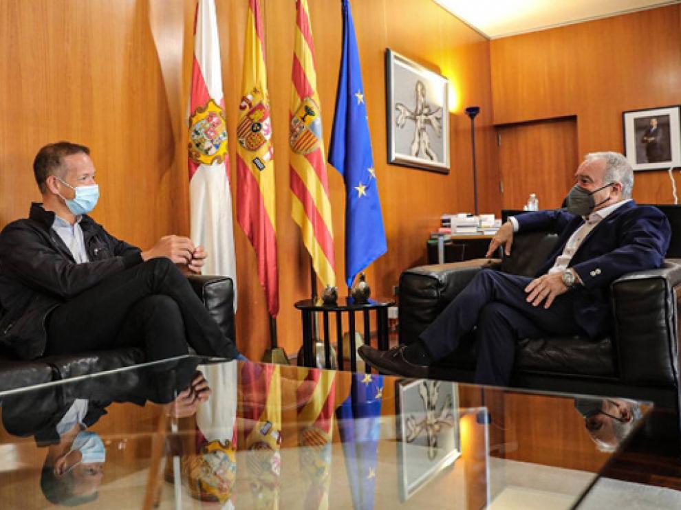 Ánder Gil y Miguel Gracia, en la reunión que han mantenido este miércoles