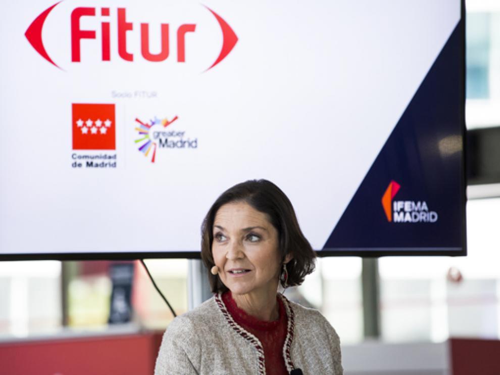 La ministra de Industria, Comercio y Turismo, Reyes Maroto, en la presentación de Fitur el 13 de mayo.