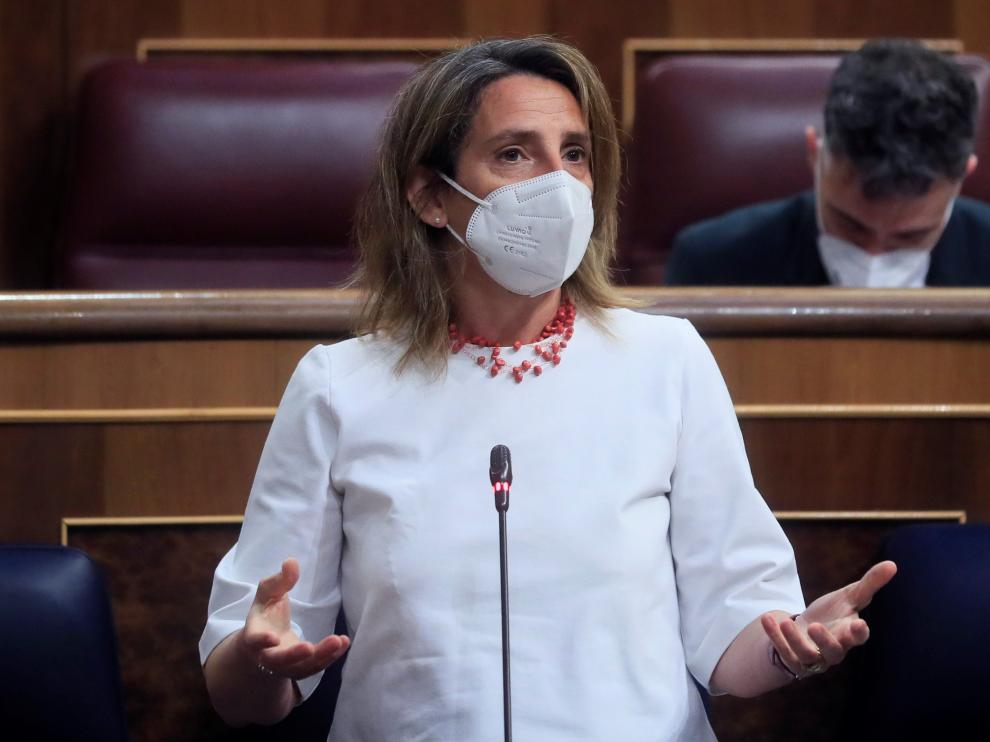 Teresa Ribera en la sesión de control al Gobierno