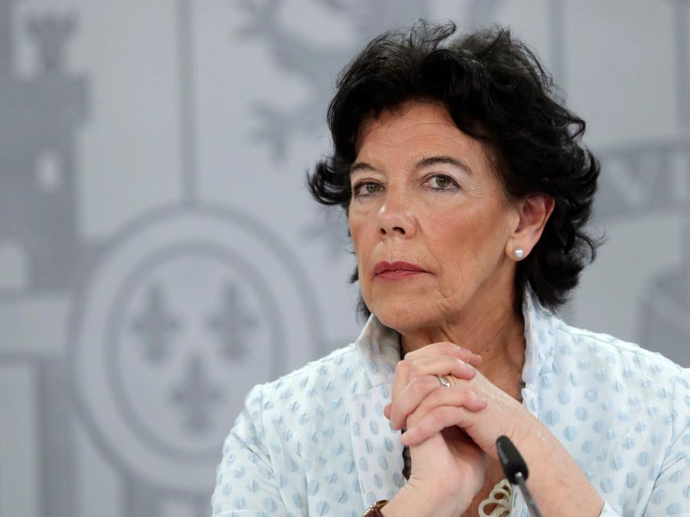 Isabel Celaá, en la rueda de prensa celebrada en el Palacio de la Moncloa