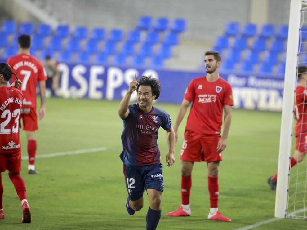 Okazaki celebra su gol ante el Numancia en el partido del ascenso de la temporada pasada.
