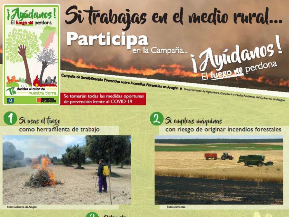 """Cartel de la campaña """"¡Ayúdanos! El fuego no perdona"""""""