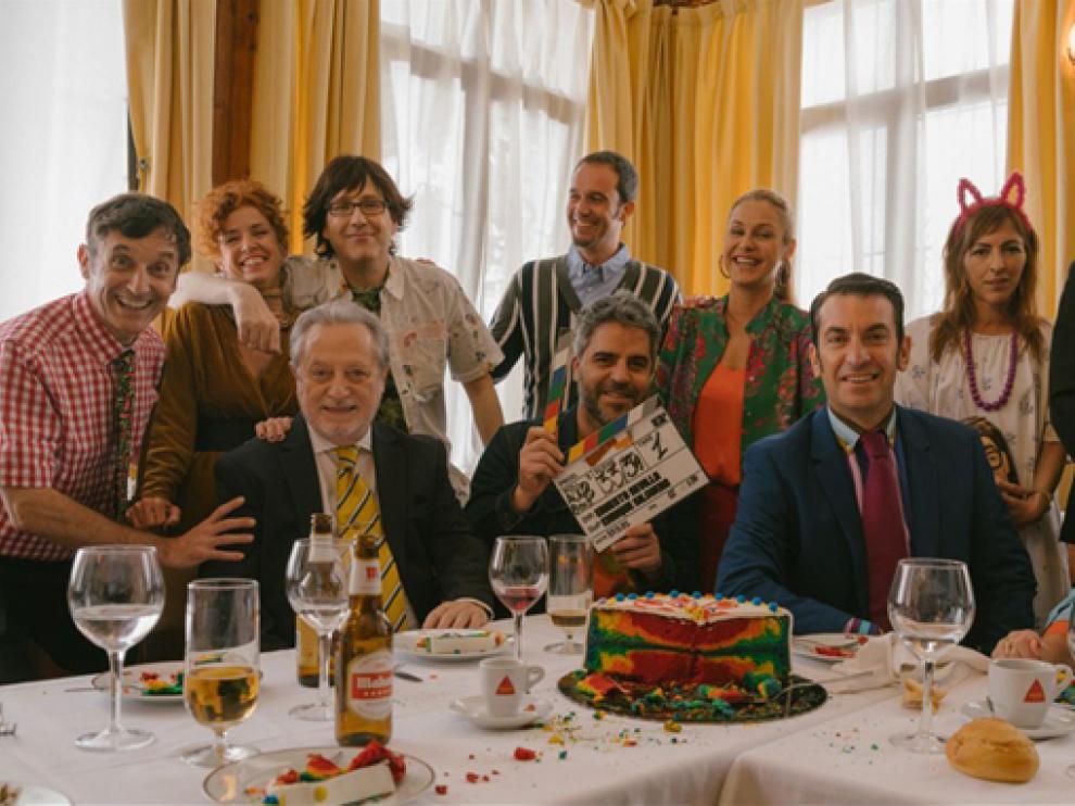 Parte del reparto principal de 'Camera Café', en la primera imagen del reencuentro.