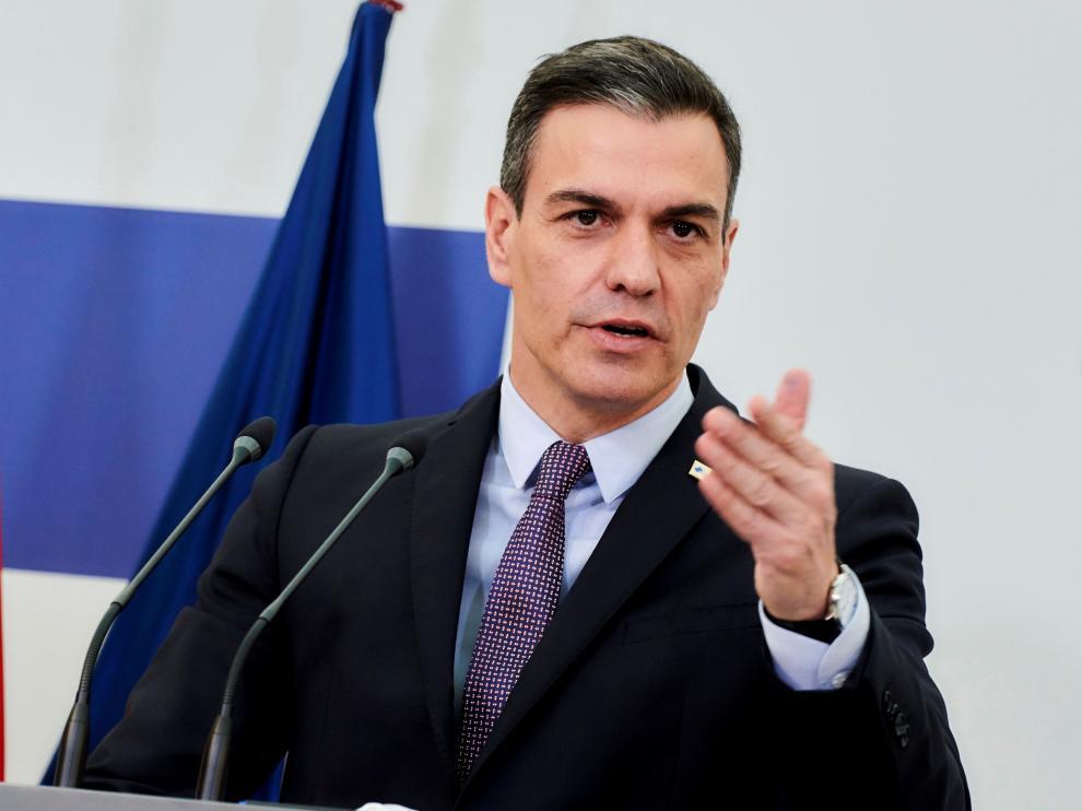 Pedro Sánchez, ayer durante su intervención.