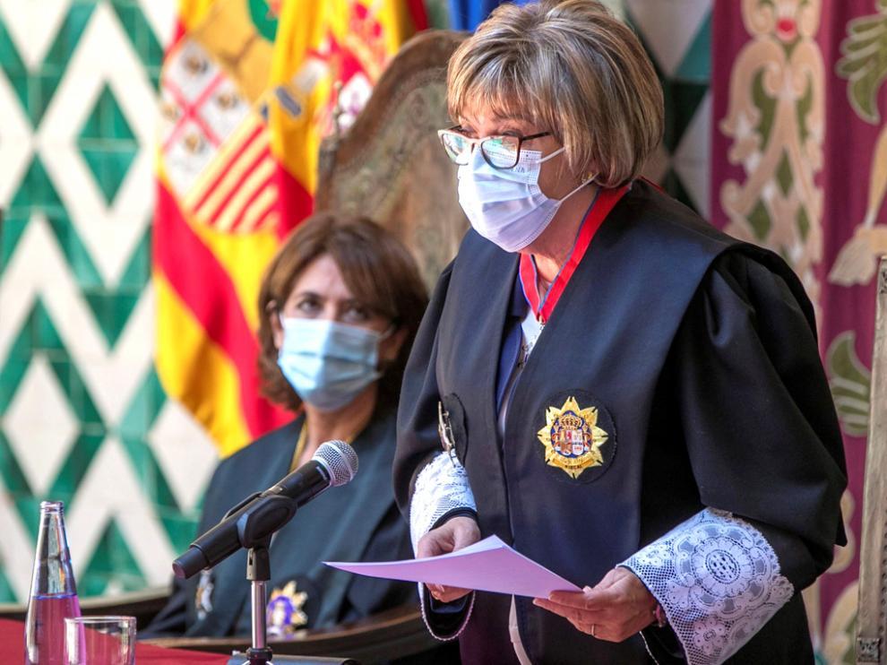 Asunción Losada Sabater durante su intervención en su toma de posesión como fiscal superior de Aragón