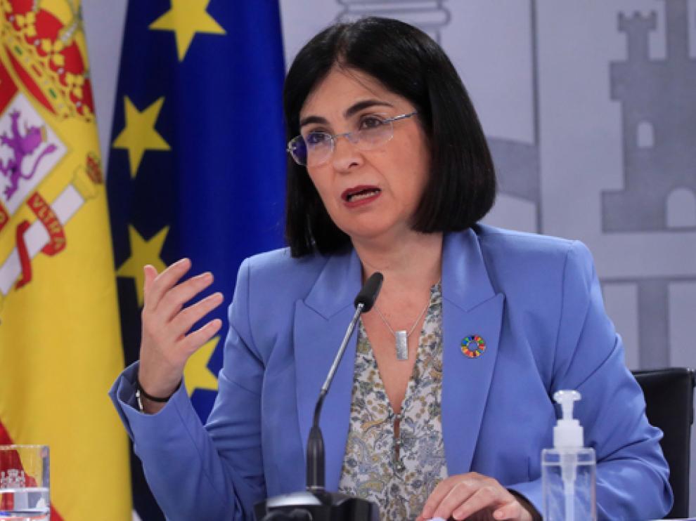 Carolina Darias al término del Consejo Interterritorial de Salud, ayer tarde.