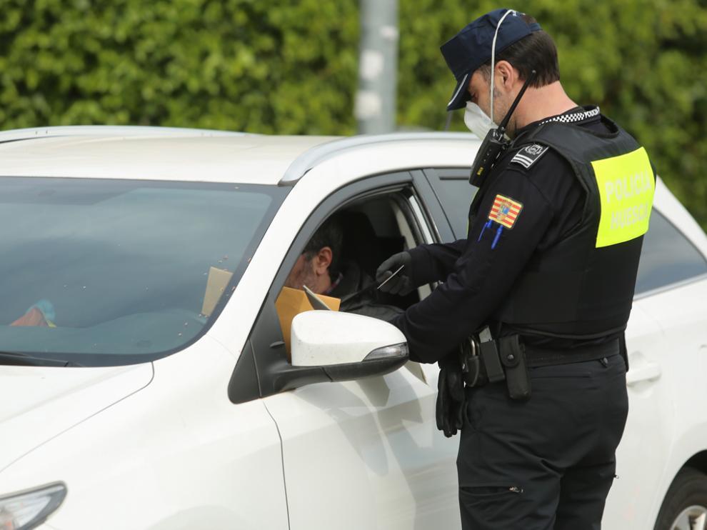 Control de tráfico en Huesca