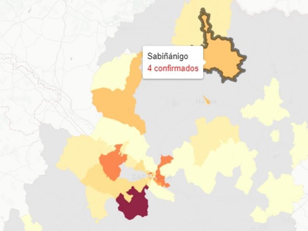 Mapa de nuevos casos de covid en Aragón, publicado este jueves
