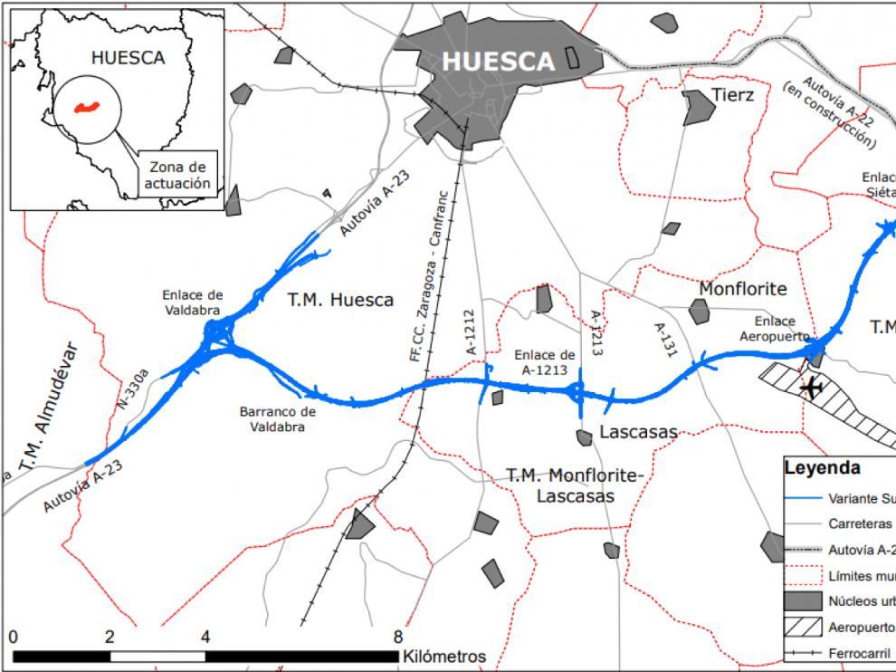 Trazado de la variante sur de Huesca