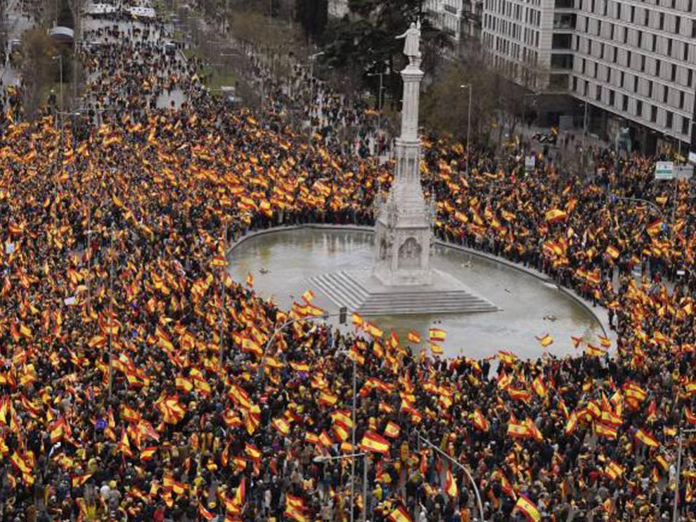 Imagen de una anterior concentración en la plaza de Colón de Madrid