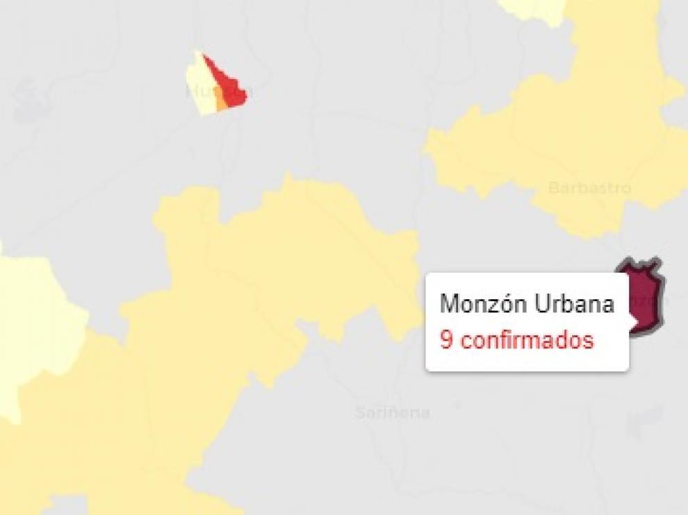 Entre las zonas de salud de Huesca y Monzón Urbana registran dos tercios de los casos informados este viernes