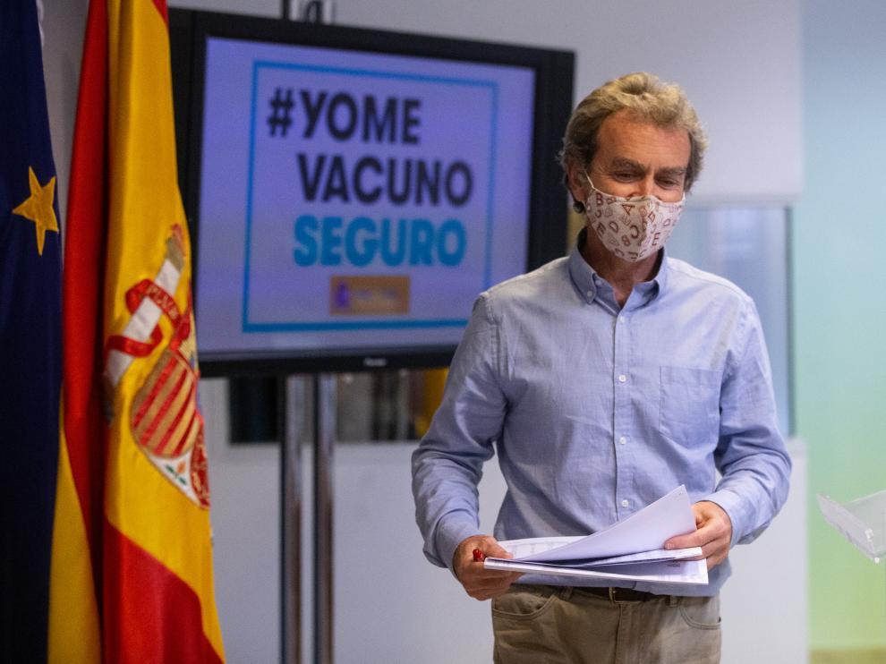 Fernando Simón ayer durante su comparecencia.