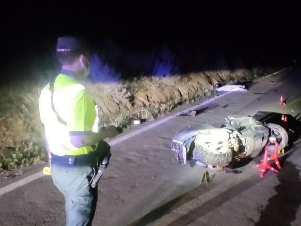 Imagen del accidente que ha tenido lugar la noche de este miércoles en Monzón