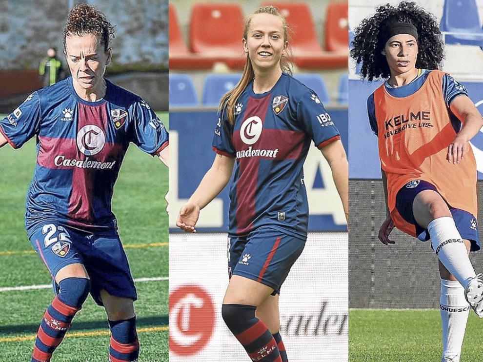 Nuria Mallada, Julia Sanz y Vanesa Ramírez, jugadoras de la SD Huesca Femenino.