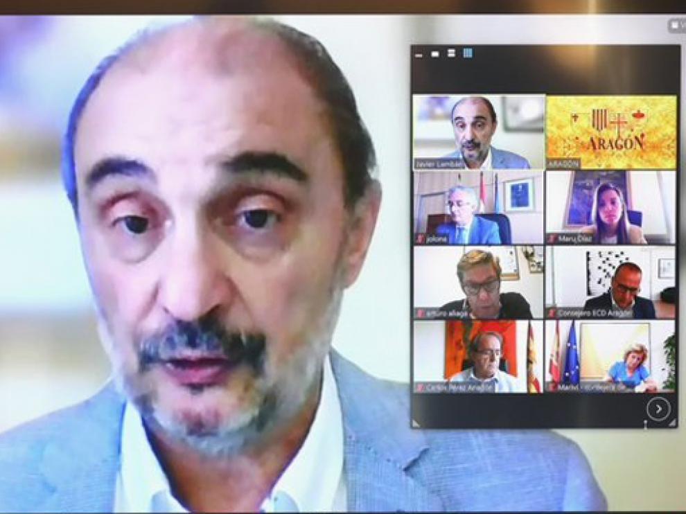 Javier Lambán, presidiendo el consejo telemático del Gobierno de Aragón