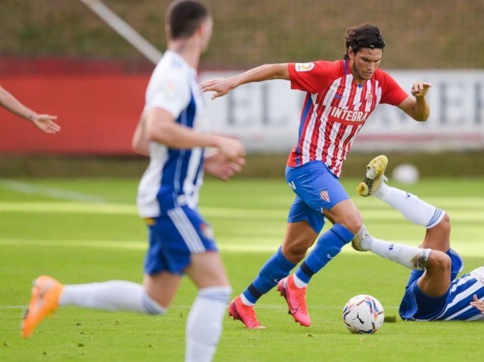 Imagen de Cristian Salvador en un partido con el Sporting.