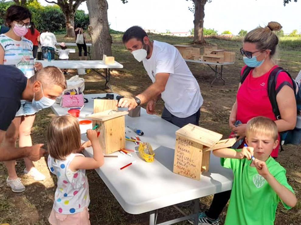 Imagen del taller de construcción de cajas nido