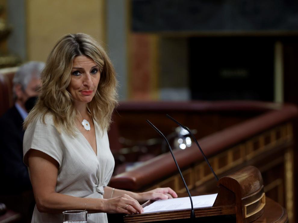 Yolanda Díaz, en el pleno del Congreso de los Diputados, este miércoles